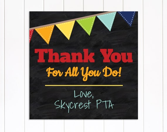 Teacher Appreciation Week Tag, Chalkboard Gift Tag Printable, Thank You Card, Personalize, Editable TAW100