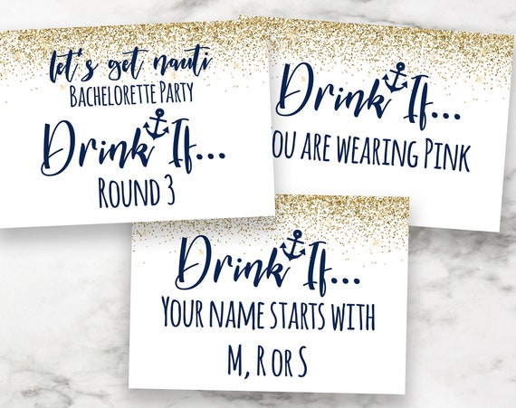 Bachelorette Party Drink If Cards Template, Bach Weekend Activity, Drinking Game Nautical, Let's Get Nauti, Bridal Activity MARIN PPW28