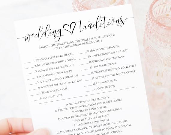 Wedding Traditions Game, Kraft Bridal Shower Quiz, Bachelorette Party, Heart, Elegant Wedding PPW0550 Grace