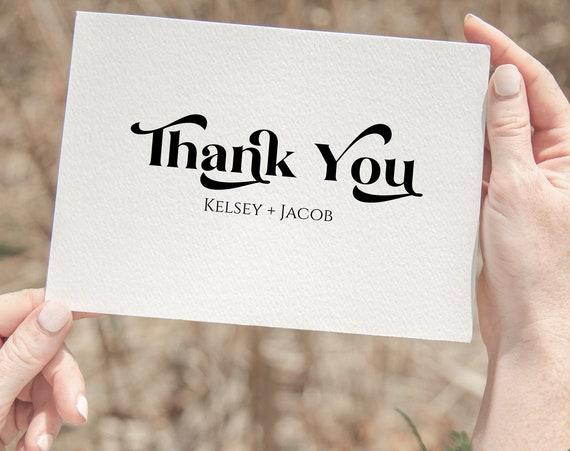 Retro Wedding Thank You Card Template, Wedding Printable, Editable Thank You Card, Printable Template PPW74