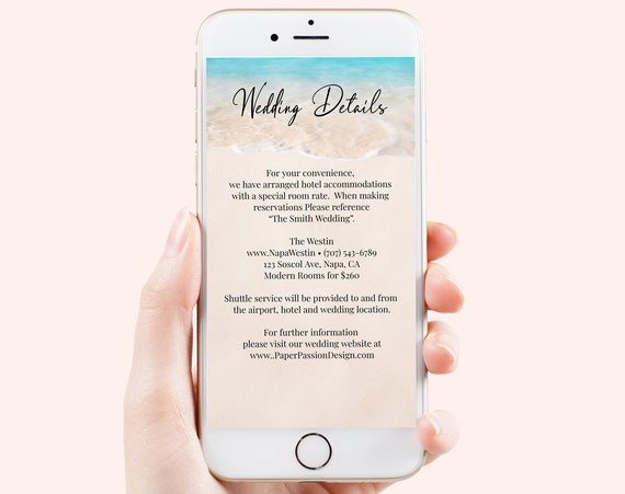 Electronic Wedding Details Card Template, Email, Text Message, Tropical Wedding, Ocean Wave, Blush, Blue Printable Editable PPW20 BREE