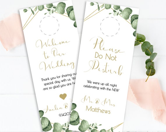 Greenery Wedding Do Not Disturb Door Hanger Template, Gold Geometric Welcome Bag , 100% Editable, Templett PPW0445