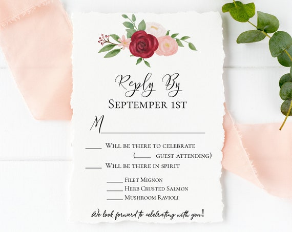 RSVP Card Template, Invitation Reply Floral Design Insert, Gold Pink Red Flower, Instant Download 100% Editable, Templett PPW0230