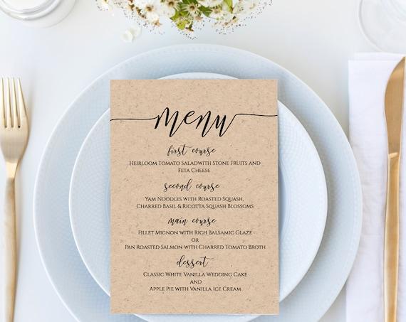 Modern Rustic Wedding Menu Template, Script Font Menu Card, 100% Editable PPW0550 Grace