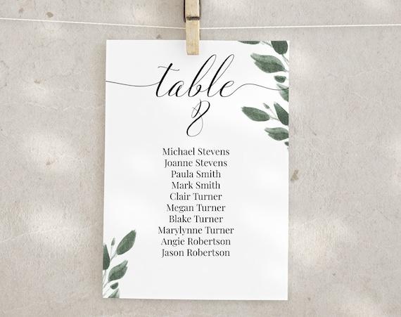 Wedding Table Seating Cards, Greenery Reception Seating Chart, Seating Display, Event Seating 100% Editable 2021 JILLIAN