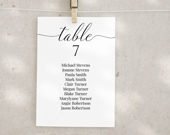 Wedding Table Seating Cards, Simple Elegant Reception Seating Chart, Seating Display, Event Seating 100% Editable 2021 JILLIAN