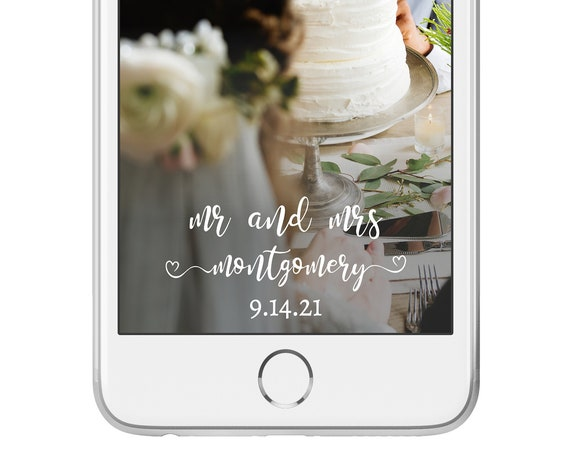 Self-Editing Wedding Geofilter, SnapChat Filter, Heart Calligraphy, Instant Download, 100% Editable, Templett DIY PPW0140