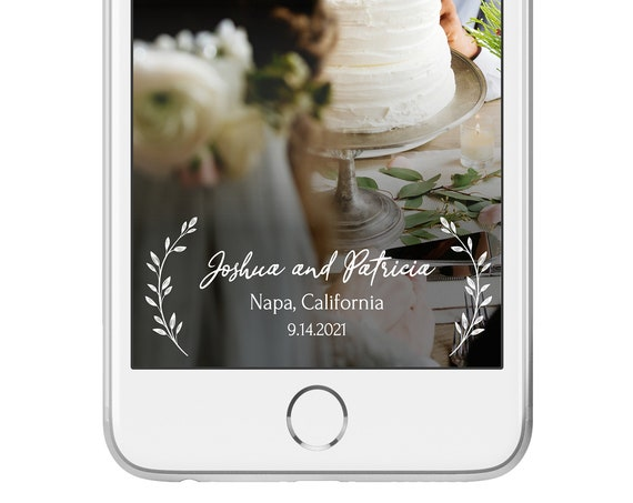 Self-Editing Wedding Geofilter, SnapChat Filter, Wreath & Greenery, INSTANT DOWNLOAD, 100% Editable, Templett PPW0330