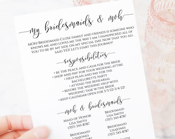Bridesmaids Commitment Card, Printable Bridesmaid Pledge, Letter to Bridesmaid, Maid of Honor Proposal Box 100% Editable PPW0550 Grace