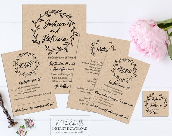 Rustic Wedding Invitation, Wreath Printable Template, RSVP, Details, Monogram, 100% Editable Text, Instant Download, Templett, DIY PPW0330