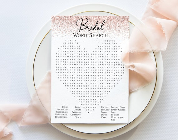Bridal Word Search Game Template, Blush Glitter Bridal Shower, Pink Bachelorette Party Bach Weekend Activity PPW90 PPW92