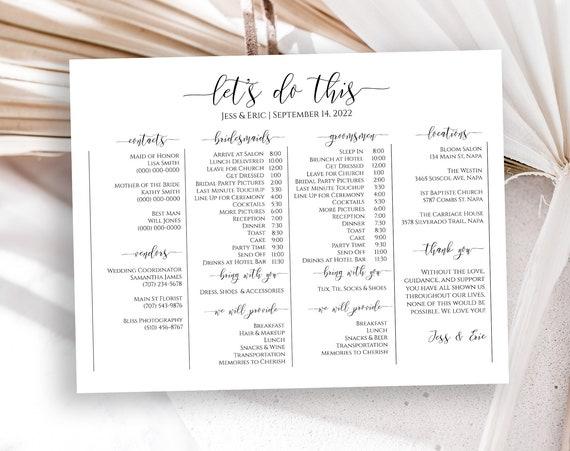Corjl PPW16 MAE Wedding Party Timeline Printable Wedding Day Schedule Groomsmen Itinerary Bridesmaid Agenda 100/% Editable