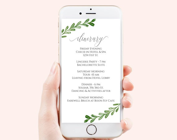 Itinerary, Greenery Wedding, Bachelorette, Out of Town Guest, Family Reunion, Electronic Schedule, Email Format, Editable Corjl PPW0560 -G