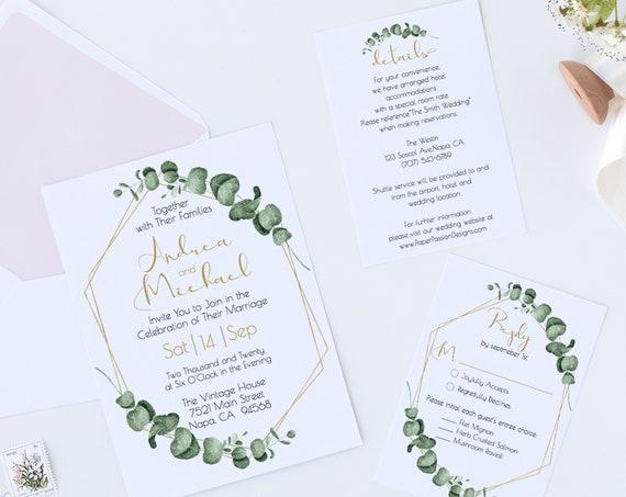 Gold Greenery Wedding Invitation Suite, Editable Invite Template, Printable Invitation Set, 100% Editable, Templett PPW0445