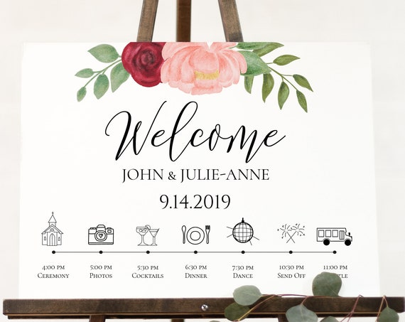 Wedding Timeline Welcome Sign Template, Floral Display, Gold Pink Red Flower, Instant Download 100% Editable, Templett PPW0230