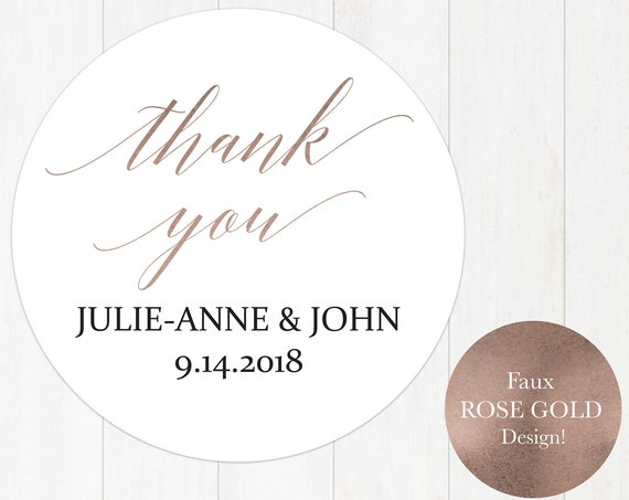 Rose Gold Thank You Tag, Wedding Favor Tag, Favor Thank You Tags, Editable Printable,  Instant Download, 120RG