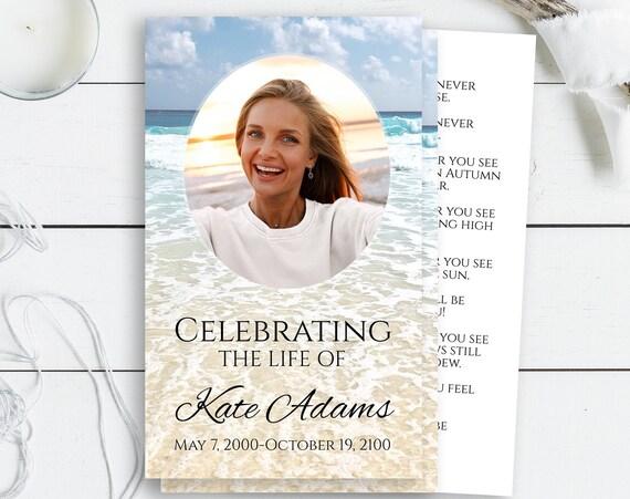 Beach Prayer Card, Memorial Card, Ocean Celebration of Life, Funeral Poem Card, Editable Corjl Template PPF100 DANA