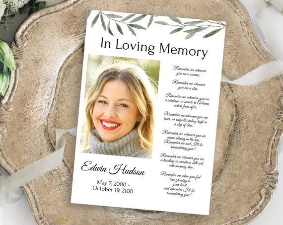 Greenery Memorial Prayer Card, Celebration of Life, In Loving Memory Funeral Card, Editable Corjl Template CL800