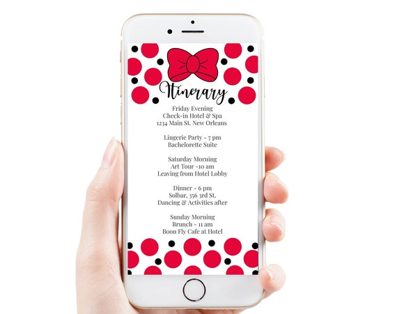 Red Itinerary Template, Hen Party, Electronic, Bachelorette, Bridal Shower, Red Polka Dot Theme Event Travel Itinerary, PPW55RBBOW WALT