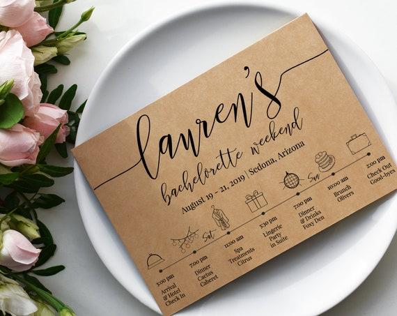 Bachelorette Weekend Timeline, Bridal Weekend Printable, Bachelorette Party Details Card, Hens Invitation, Templett PPW0550 Grace