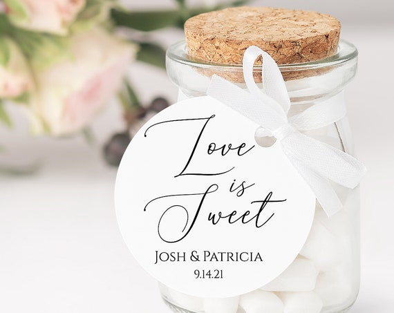Round Modern Elegant Calligraphy Love is Sweet Wedding Favor Tag and Label 100% Editable Templett PPW0555