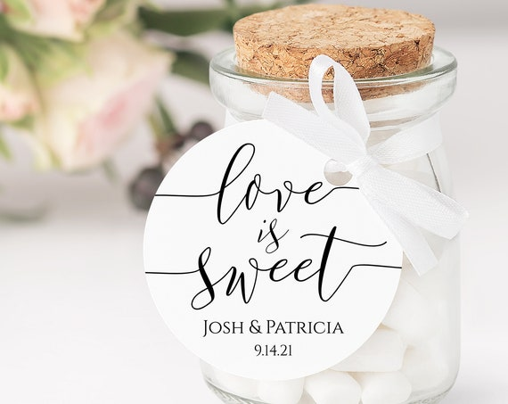Round Modern Elegant Calligraphy Love is Sweet Wedding Favor Tag and Label 100% Editable PPW0550 GRACE