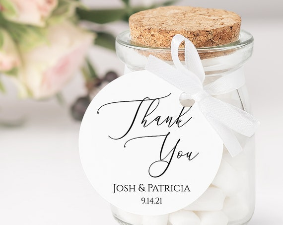 Round Modern Elegant Calligraphy Thank You Wedding Favor Tag and Label 100% Editable Templett PPW0555