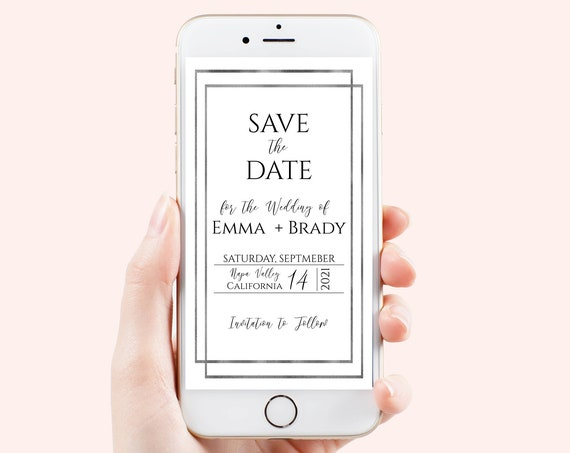 Save the Date, Wedding Electronic Announcement, Silver Frame Wedding Date, Text Message, Email, Mobile Phone, Editable, Corjl PPW-NY21