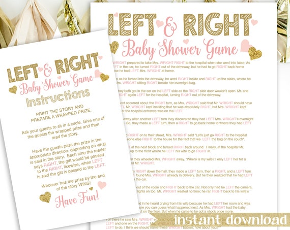 Glitter Left Right Baby Shower Story Game ~ Pink and Gold Baby Shower ~ Baby Girl Hearts ~ Printable Game 5GL_PG
