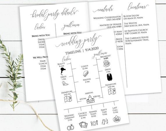 Wedding Party Timeline and Details Schedule, Printable Groomsmen & Bridesmaid Agenda, Folding Itinerary, 100% Editable, Templett  PPW0560