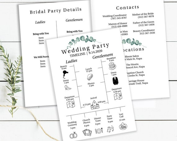 Greenery Wedding Party Details & Timeline Template, Bridesmaid Agenda, Groomsmen Itinerary, 100% Editable, Templett PPW0440