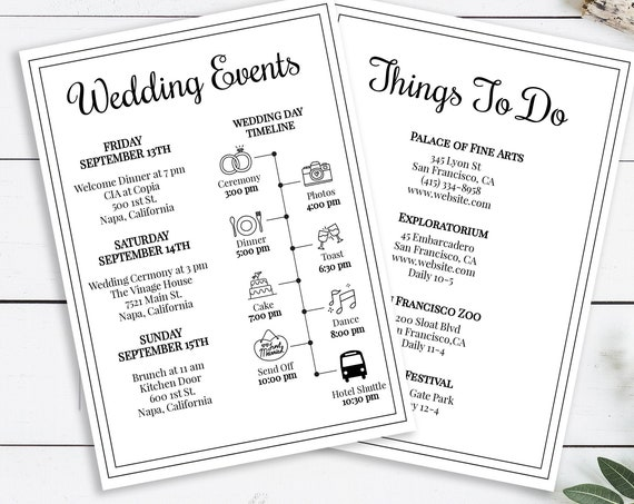 Wedding Timeline and Things To Do Template, Weekend Events, Simple Cursive Script Design, 100% Editable, Templett PPW0570