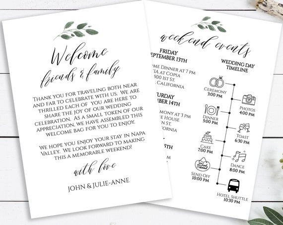 Welcome Wedding Card, Wedding Weekend Timeline, Printable Out of Town Guests, Itinerary, Agenda, 100% Editable,  Templett PPW0450
