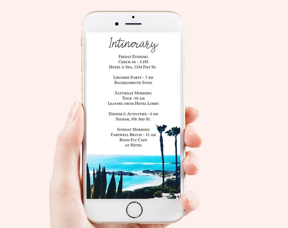Coastal Theme Itinerary Electronic Template, Evite, Hen Party, Bridal Shower, Palm Trees Editable Text PPW58 HALI