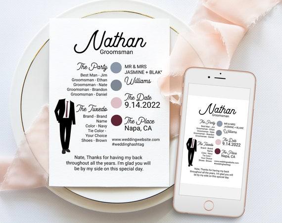 Groomsman Information Card, Printable Best Man Details, Note to Groomsmen, Modern Wedding Party Detail Cards Editable ELLA PPW300