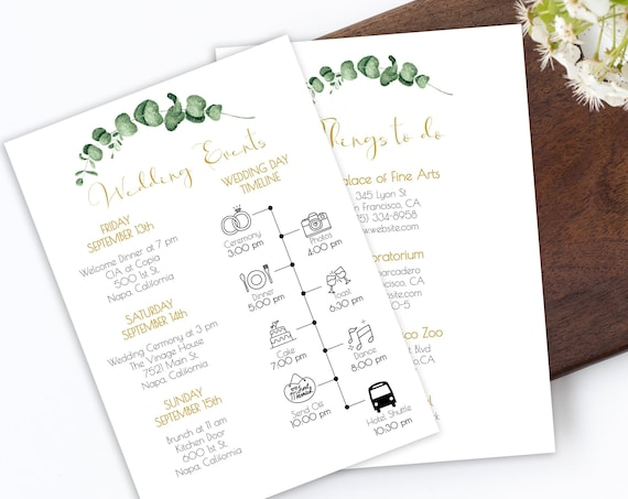 Gold Frame Greenery Wedding Weekend Schedule of Events Timeline, Out of Town Guests Things To Do, 100% Editable, Templett PPW0445