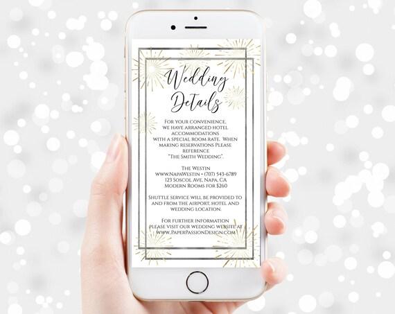 Wedding Details, Bachelorette, Wedding, Family Reunion, Electronic Info, Email Details, Editable Text, 100% Editable, Corjl PPW-NY21