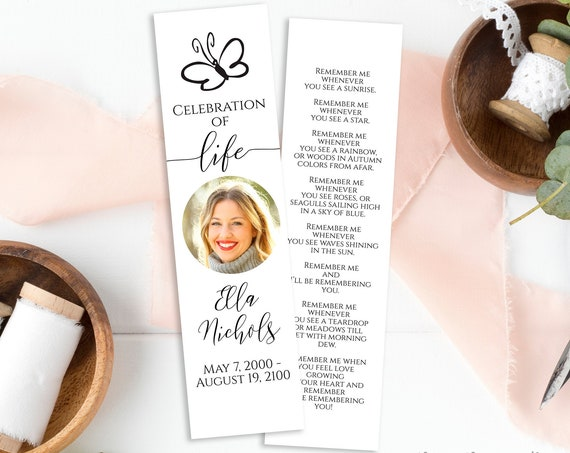 Butterfly Memorial Bookmark, Celebration of Life, Funeral Poem Card, Editable Corjl Template PPF550