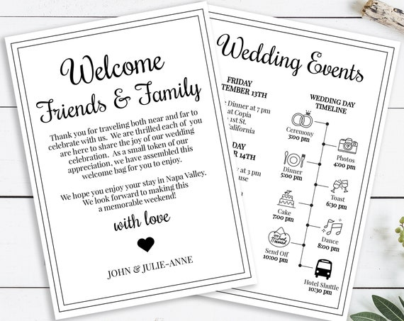 Wedding Welcome Note and Weekend Events Timeline, Welcome Bag, Simple Cursive Script Design, 100% Editable, Templett PPW0570
