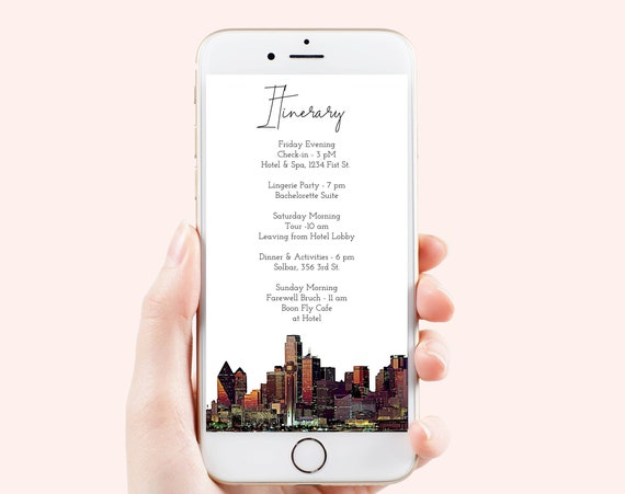Dallas Texas Painting Electronic Itinerary Template, Evite, Hen Party, Bridal Shower, Details, Schedule, Wedding Events PPW80 DALLAS