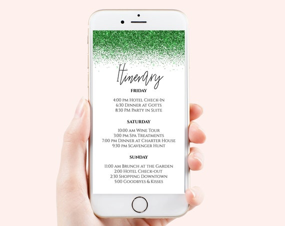 Glitter Itinerary, Hen Party, Electronic Invitation, Bachelorette, Bridal Shower, Event Agenda, Editable Template, PPW90Green