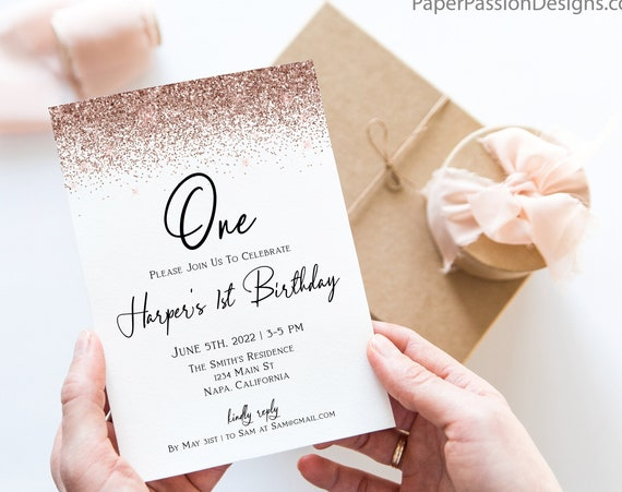 Pink Glitter First Party Invite, Turning One Invitation, Rose Gold, Blush Pink Glitter, Editable Template, Corjl PPW90 PPW92