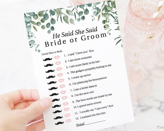 Greenery Wedding He Said She Said Game Template, Bridal Shower Printable 100% Editable, Templett PPW0440