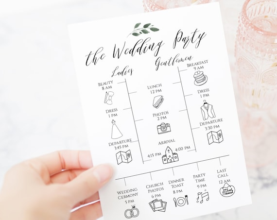 Greenery Wedding Party Timeline and Details Template, Wedding Day Schedule, Bridal Party Printable 100% Editable  Templett PPW0450