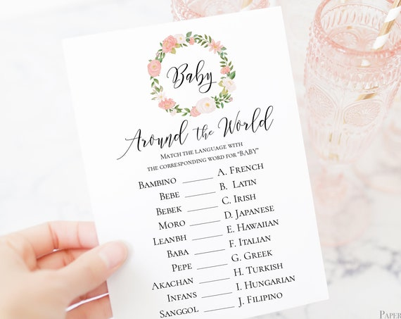Pink Floral Baby Around the World Game Template, Baby Girl Shower Printable 100% Editable, Templett PPB0230