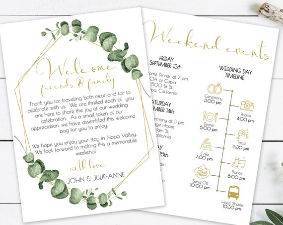 Gold Frame Greenery Welcome Card, Printable Out of Town Timeline, Wedding Day Schedule, Welcome Bag 100% Editable, Templett PPW0445