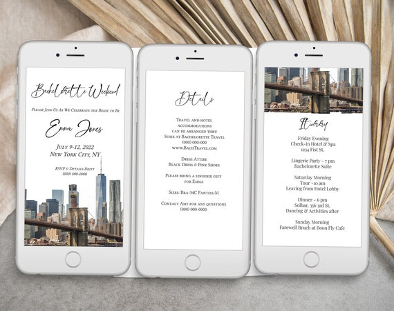 New York Watercolor Electronic Invitation Template, Evite, Hen Party, Bridal Shower, Details, Itinerary PPW32 BROOKLYN