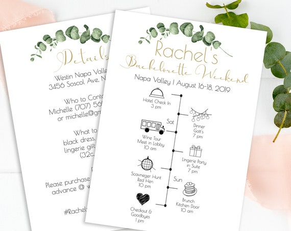 Greenery Bachelorette Weekend Timeline Template, Gold Geometric Bridal Weekend Itinerary Details, 100% Editable, Templett PPW0445