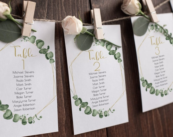 Gold Geometric Greenery Event Seating Chart Table Cards, Wedding Table Seating Template, 100% Editable, Templett PPW0445