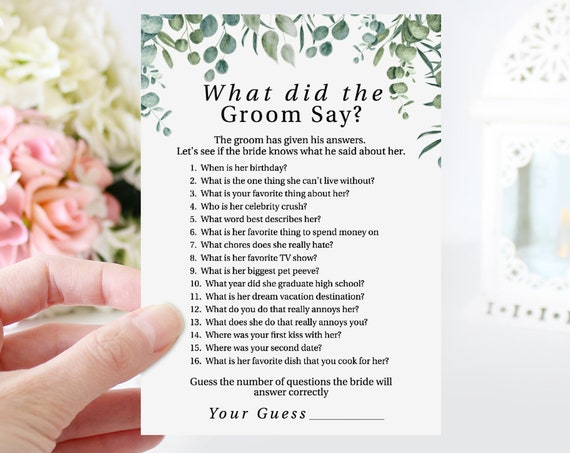 Greenery Wedding What Did the Groom Say Game Template, Bridal Shower Printable 100% Editable, Templett PPW0440